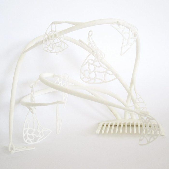 fascinator hat 3D printed in white