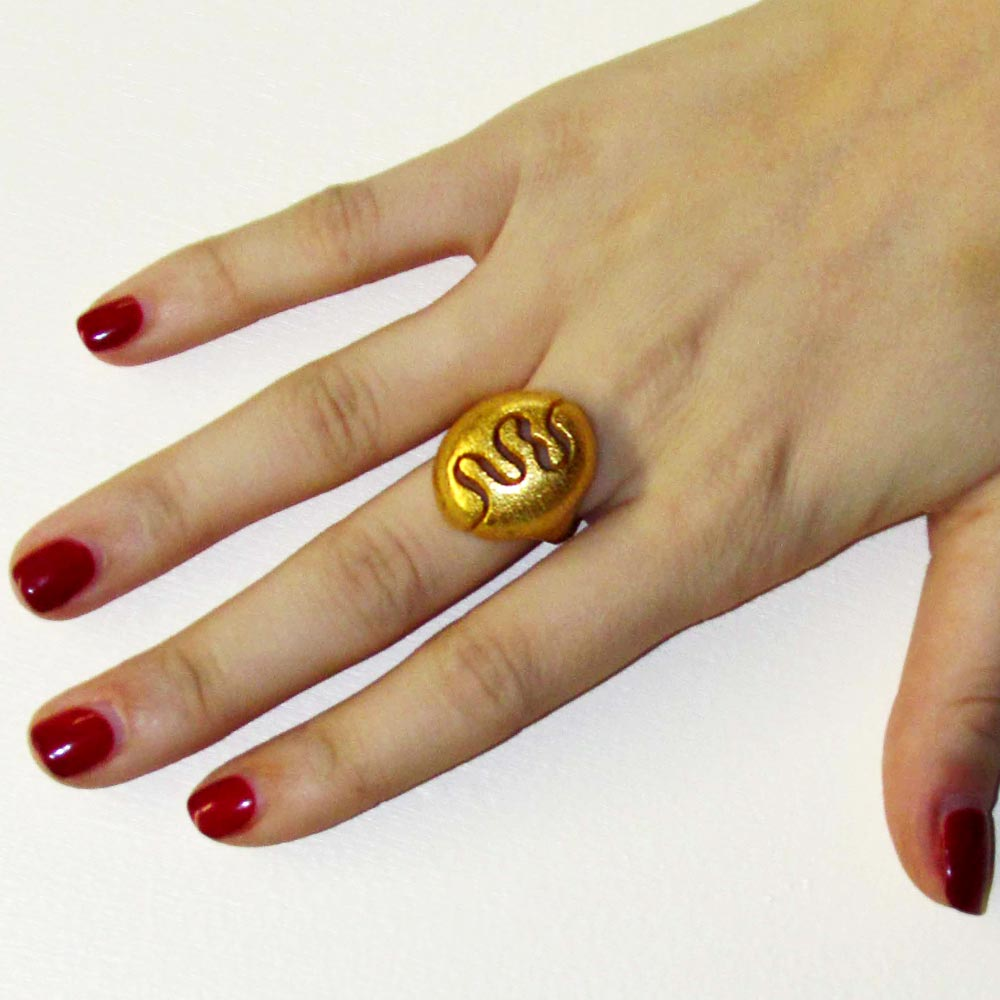 nature rings 3D printed in gold