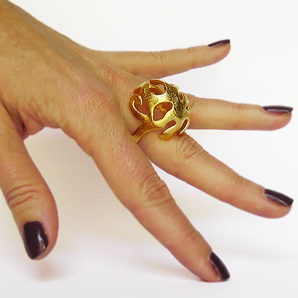 gold underwater nature rings