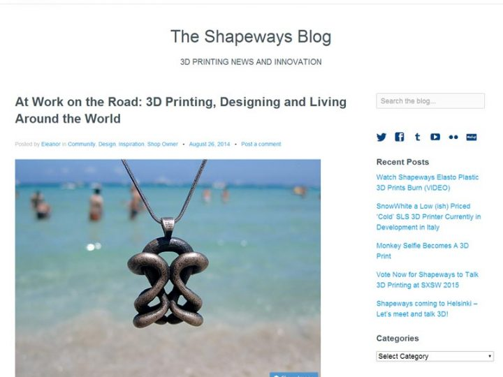 Living and Working on the Road – Second guest blog at Shapeways